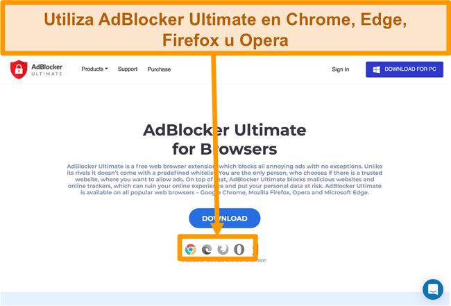 Captura de pantalla del sitio web de AdBlocker Ultimate que muestra las 4 extensiones de navegador web disponibles