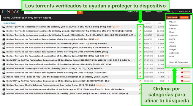 Captura de pantalla de enlaces falsos en TorLock