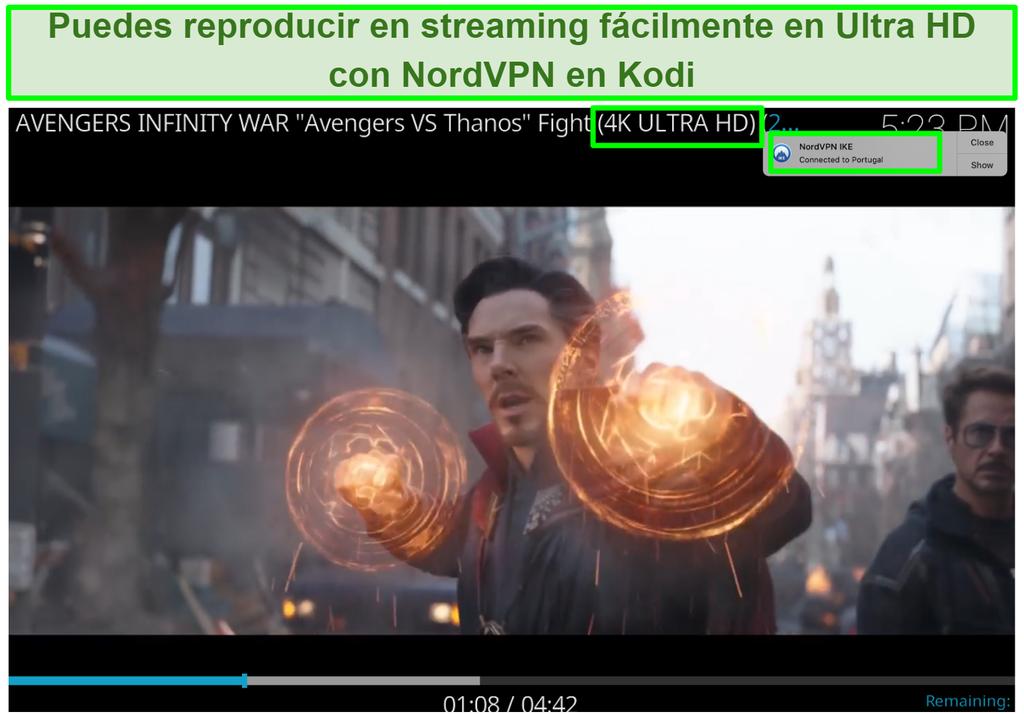 Captura de pantalla de Avengers Infinity War en YouTube en 4K reproduciéndose a través de NordVPN