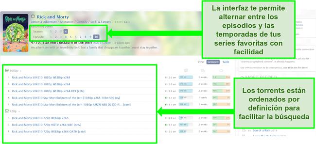 Captura de pantalla de la página de inicio de Zooqle