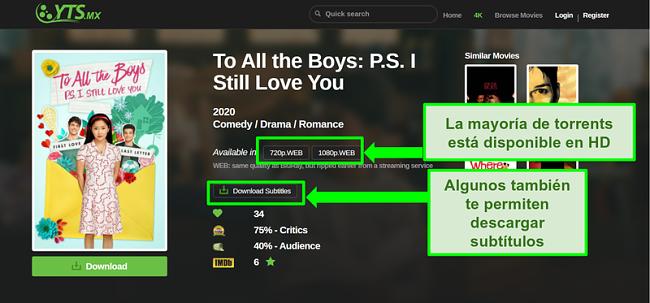 Captura de pantalla de la página de destino de YTS