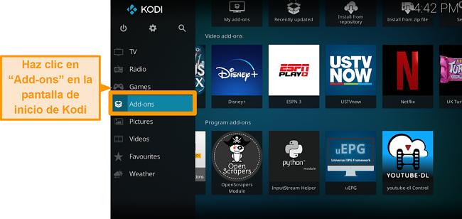 captura de pantalla de cómo instalar el complemento oficial de kodi paso dos haga clic en complementos