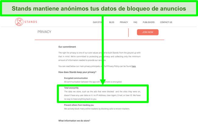 Captura de pantalla del sitio web de Stands que indica que los datos que tiene sobre los anuncios bloqueados nunca están vinculados a la información personal de los usuarios