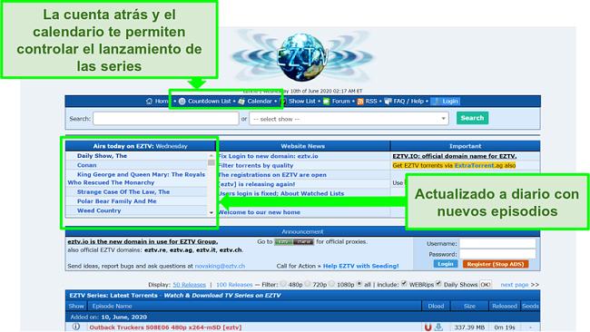 Captura de pantalla de la página de inicio de EZTV