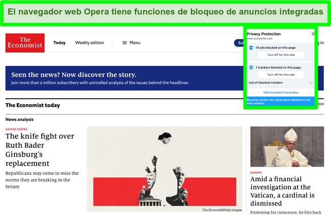 Captura de pantalla del bloqueador de anuncios incorporado del navegador Opera que elimina anuncios del sitio web TechCrunch