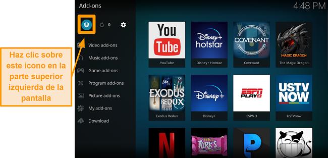 captura de pantalla de cómo instalar el complemento oficial de kodi, paso tres, haga clic en el icono del cuadro