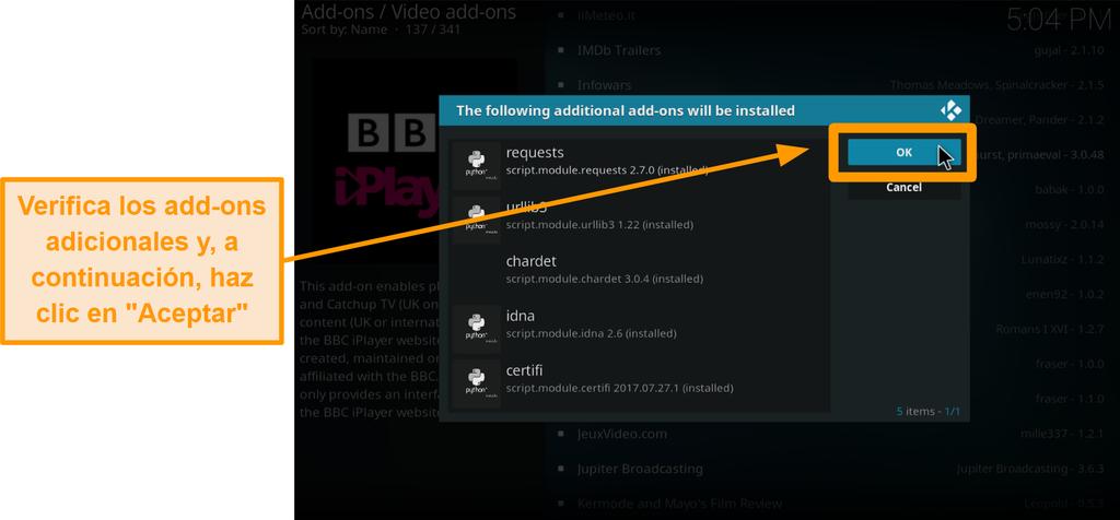 captura de pantalla de cómo instalar el complemento oficial de kodi, paso nueve, verifique los complementos adicionales y luego haga clic en Aceptar