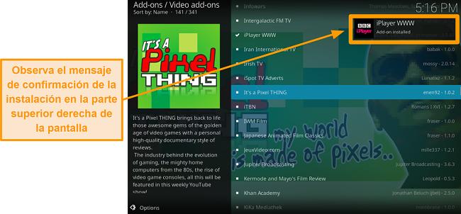 captura de pantalla de cómo instalar el complemento oficial de kodi, aparecerá la notificación del paso diez