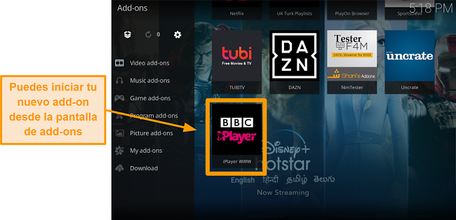 captura de pantalla de cómo instalar el complemento oficial de kodi paso once lanzar un nuevo complemento desde la página de inicio