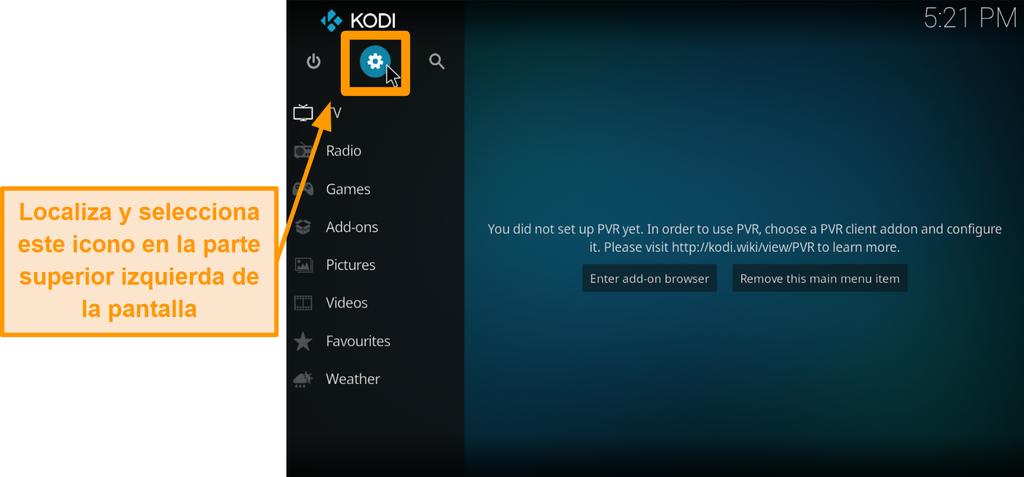captura de pantalla cómo instalar el complemento kodi de terceros paso 2 haga clic en el icono del cuadro