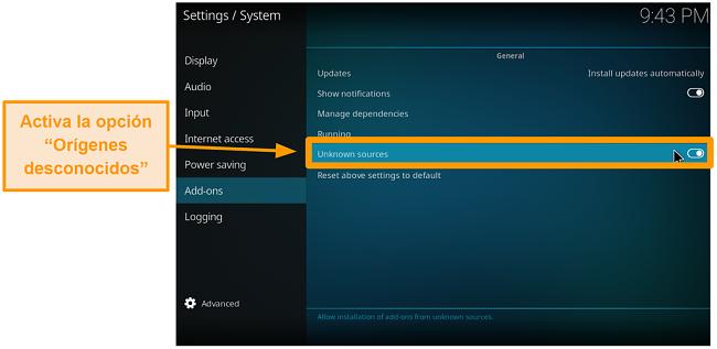 captura de pantalla de cómo instalar el complemento kodi de terceros paso 4 activar fuentes desconocidas
