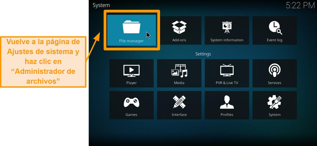captura de pantalla de cómo instalar el complemento kodi de terceros, paso 5, haga clic en el administrador de archivos
