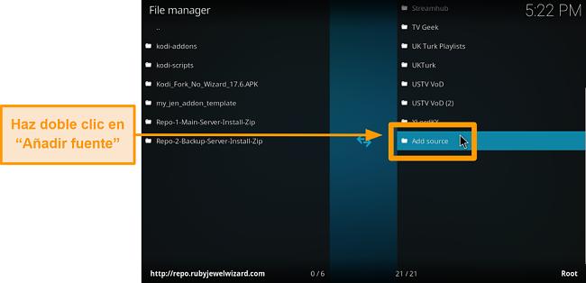 captura de pantalla de cómo instalar el complemento kodi de terceros, paso 6, haga clic en agregar fuente