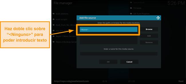 captura de pantalla de cómo instalar el complemento kodi de terceros, paso 7, haga doble clic en ninguno