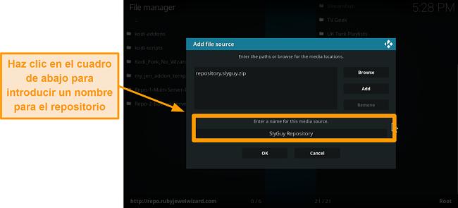 captura de pantalla de cómo instalar el complemento kodi de terceros, paso 9, escriba el nombre del repositorio