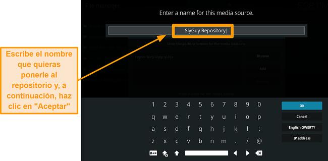 captura de pantalla cómo instalar el complemento kodi de terceros paso 10 escriba el nombre para el repositorio