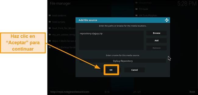 captura de pantalla de cómo instalar el complemento kodi de terceros, paso 11, haz clic en Aceptar