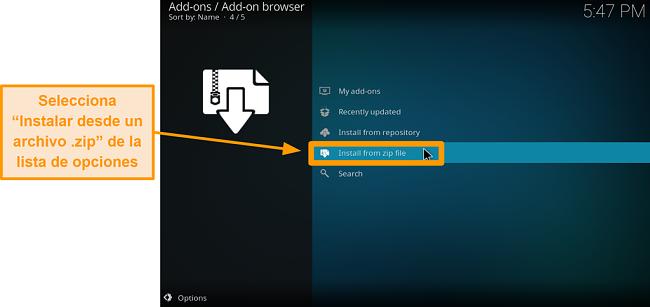 captura de pantalla de cómo instalar el complemento kodi de terceros, paso 14, haga clic en instalar desde un archivo zip