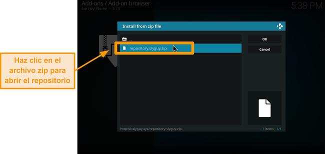 captura de pantalla cómo instalar el complemento kodi de terceros paso 16 haga clic en el archivo zip para abrir el repositorio