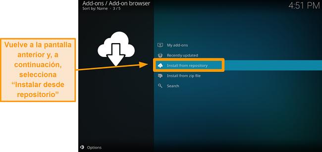 captura de pantalla de cómo instalar el complemento kodi de terceros, paso 17, haga clic en instalar desde el repositorio