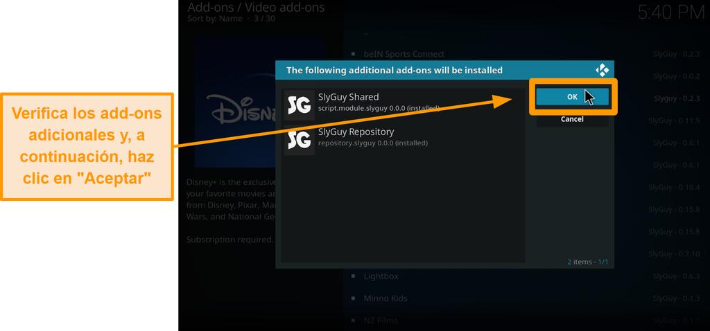 captura de pantalla cómo instalar el complemento kodi de terceros paso 18 sheck adicionales complementos y luego haga clic en Aceptar