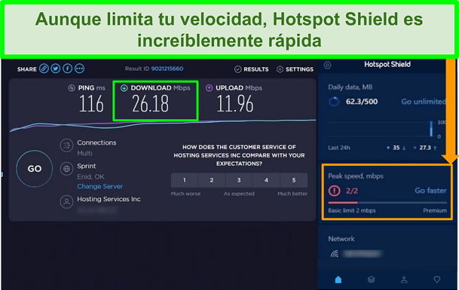 Captura de pantalla de los resultados de la prueba de velocidad mientras está conectado a la interfaz Hotspot Shield