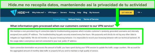 Captura de pantalla de la política de privacidad de Hide.me que muestra que no se guardan registros de datos