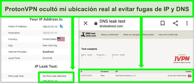 Captura de pantalla de una prueba de fugas de direcciones IP y DNS que no muestra fugas de direcciones IP mientras está conectado a ProtonVPN