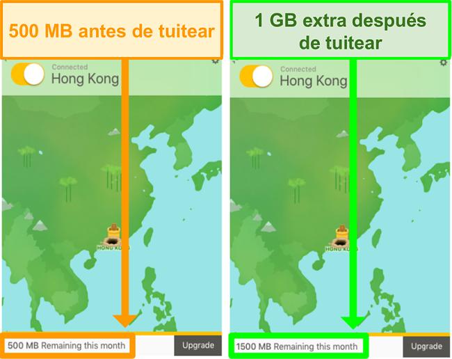 Captura de pantalla de TunnelBear que proporciona 1 GB de datos adicionales para tuitear