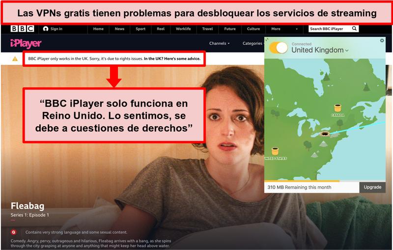 Captura de pantalla de TunnelBear conectado a un servidor del Reino Unido y no puede acceder a BBC iPlayer