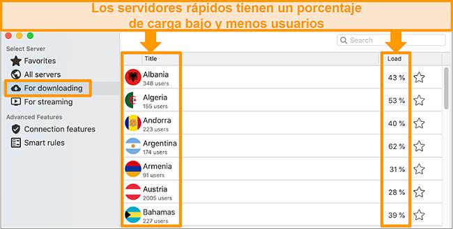 Captura de pantalla de la aplicación CyberGhost y la lista de servidores