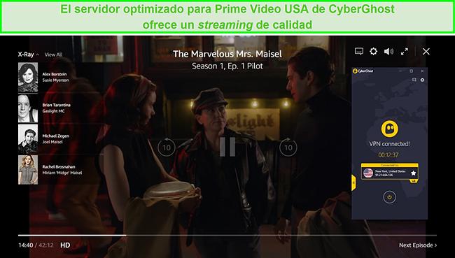 Captura de pantalla de CyberGhost conectado a un servidor de EE. UU. Y desbloqueando a The Marvelous Mrs. Maisel en Prime Video US
