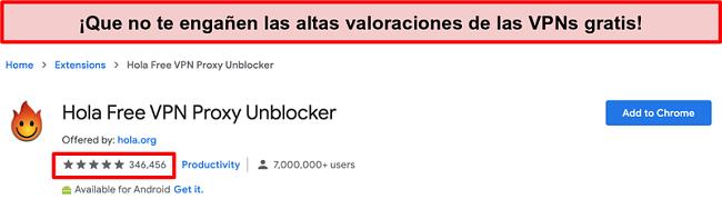 Captura de pantalla de Hola Free VPN Proxy Unblocker en la tienda de extensiones de Google Chrome