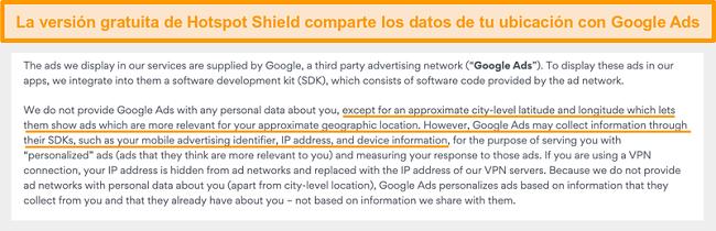 Captura de pantalla de la política de privacidad de Hotspot Shield en Google Ads