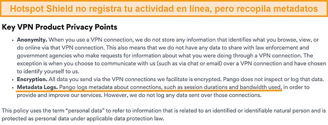 Captura de pantalla de la política de privacidad de Hotspot Shields