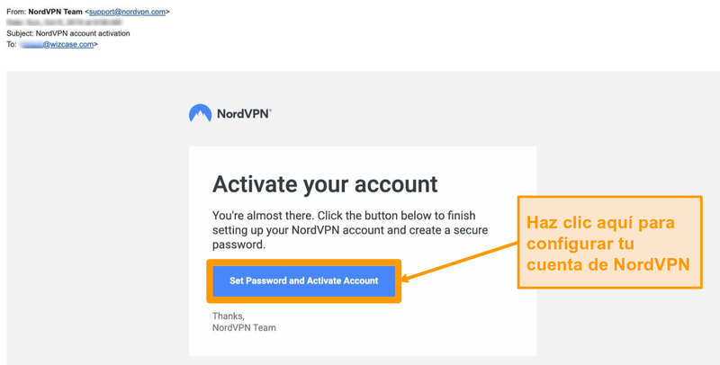 Captura de pantalla del correo electrónico de activación de la cuenta NordVPN