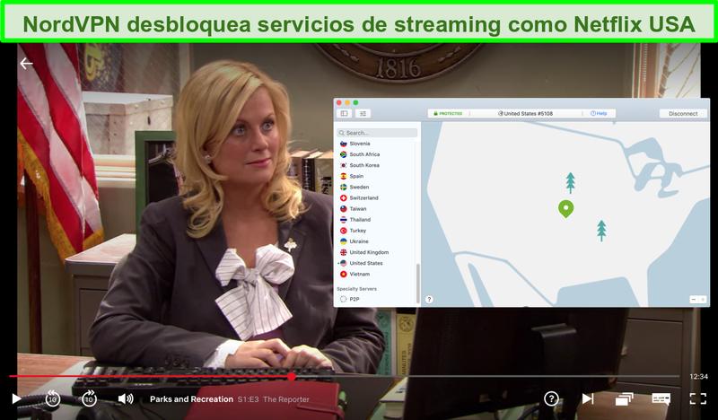 Captura de pantalla de Netflix US jugando a Parks and Recreation con NordVPN conectado a un servidor de EE. UU.