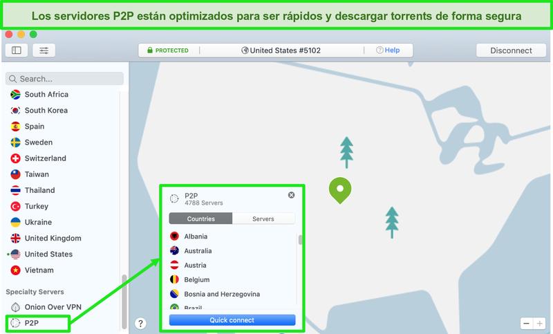 Captura de pantalla de los servidores P2P de NordVPN en la aplicación Mac