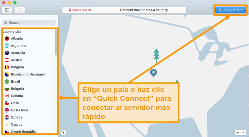 Captura de pantalla de la aplicación NordVPN en Mac con Quick Connect y opciones de lista de servidores