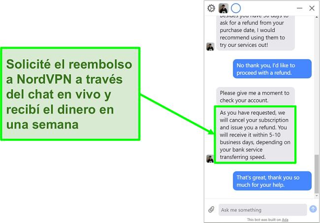 Captura de pantalla de un cliente que solicita un reembolso con la garantía de devolución de dinero de 30 días en el chat en vivo de NordVPN