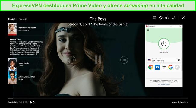 Captura de pantalla de ExpressVPN conectado a un servidor de EE. UU. Y desbloqueando a The Boys en Prime Video US