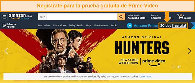 Captura de pantalla de la página de inicio de Amazon Reino Unido con la opción de registrarse para una prueba gratuita de 30 días para Amazon Prime
