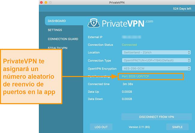 Captura de pantalla de PrivateVPN con el número de reenvío de puerto visible en la aplicación Mac