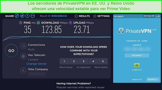 Captura de pantalla de los resultados de la prueba de velocidad de PrivateVPN con velocidades rápidas cuando se conecta a un servidor de Londres