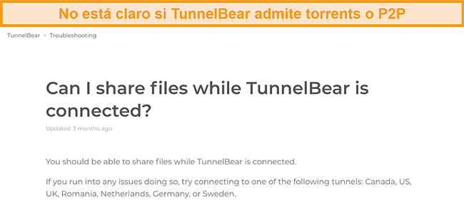 Captura de pantalla de la página de solución de problemas de TunnelBear sobre el intercambio de archivos