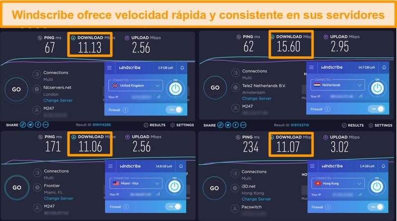 Captura de pantalla de los resultados de la prueba de velocidad de Windscribe VPN y sus servidores en el Reino Unido, Países Bajos, Estados Unidos y Hong Kong