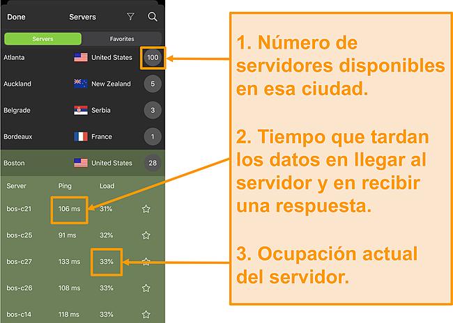 Captura de pantalla de la lista de servidores IPVanish con números de servidor, ping y carga del servidor resaltados
