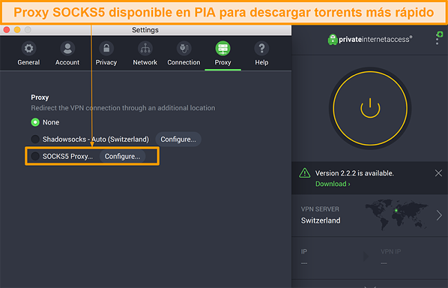 Captura de pantalla de la interfaz de la aplicación PIA que muestra la opción de proxy SOCKS5 en la configuración