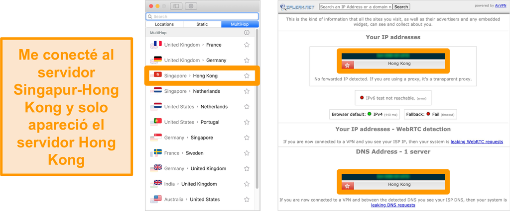 Captura de pantalla del servidor MultiHop de Surfshark (doble VPN) para Singapur y Hong Kong, junto con los resultados de las pruebas de fugas que muestran solo el servidor de Hong Kong visible