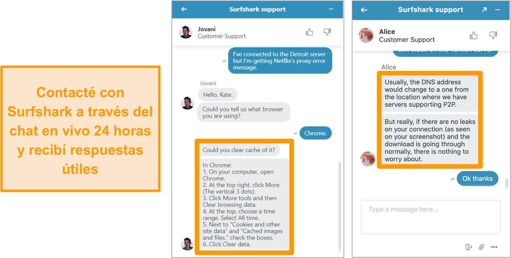 Captura de pantalla de la función de chat en vivo 24/7 de Surfshark con consejos para la solución de problemas sobre Netflix US y torrents